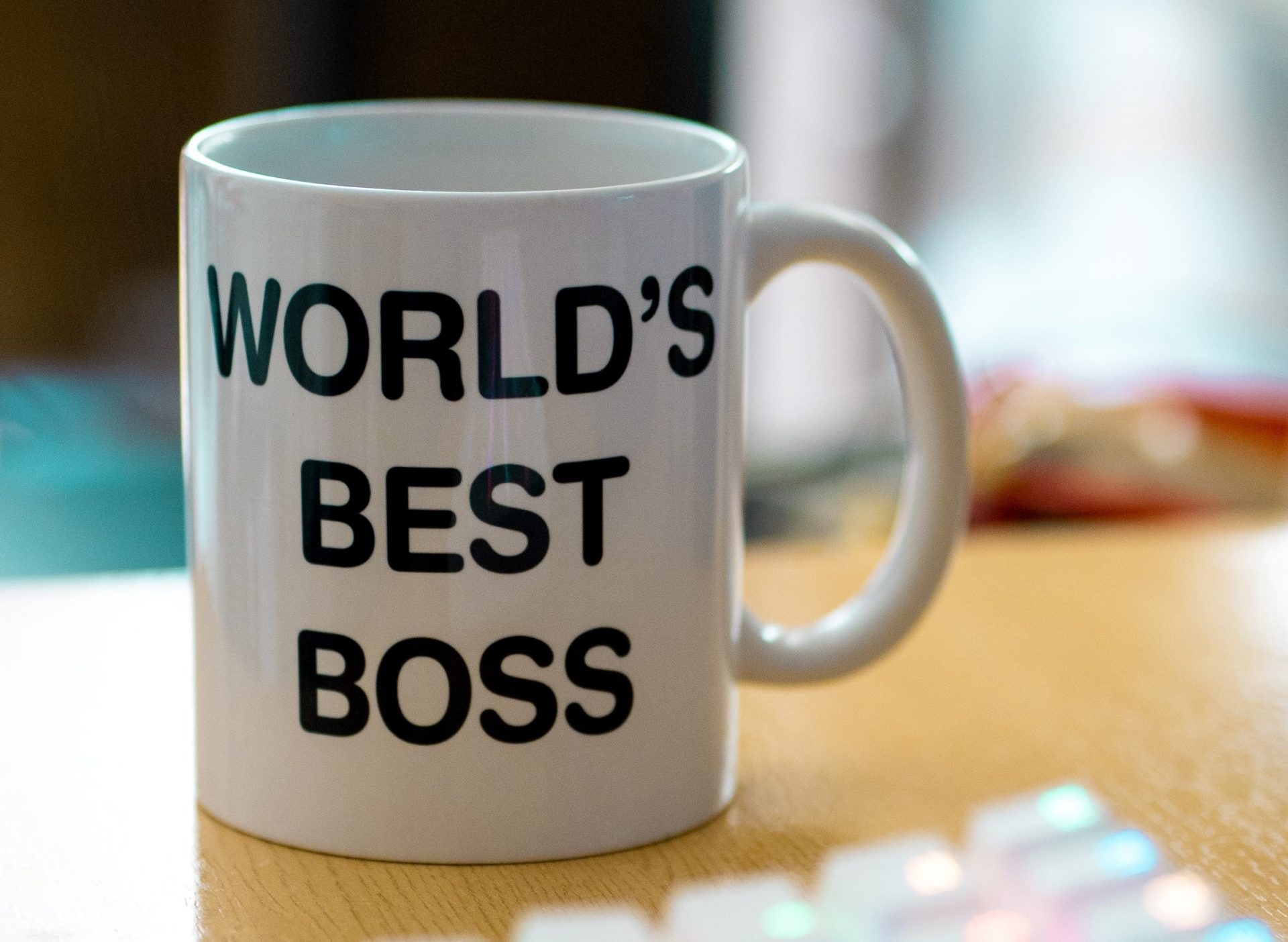 Photo of coffee mug with 'world's best boss' inscription