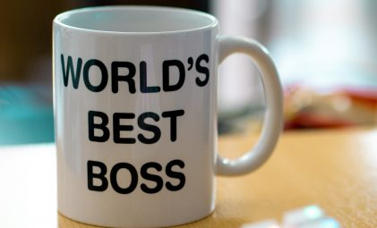 Photo of coffee mug with 'world's best boss' inscription